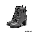 達芙妮DAPHNE 短靴-原色金屬扣帶裝飾綁帶粗跟短靴-灰