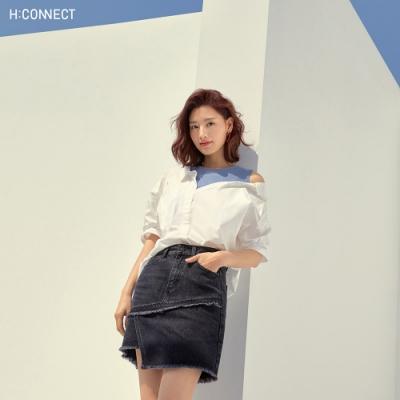 H:CONNECT 韓國品牌 女裝-交錯拼接設計感短裙-黑