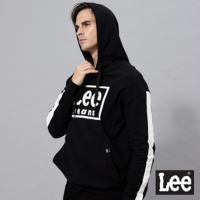 Lee 連帽厚T 方框logo 男 黑