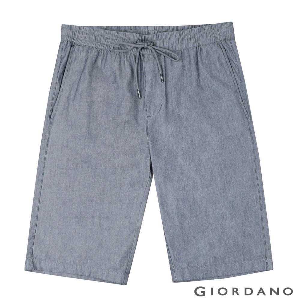 GIORDANO 男裝簡約百搭鬆緊腰抽繩休閒短褲-69 細格海軍藍