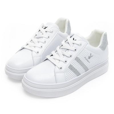 PLAYBOY 條紋亮蔥厚底休閒鞋-白銀