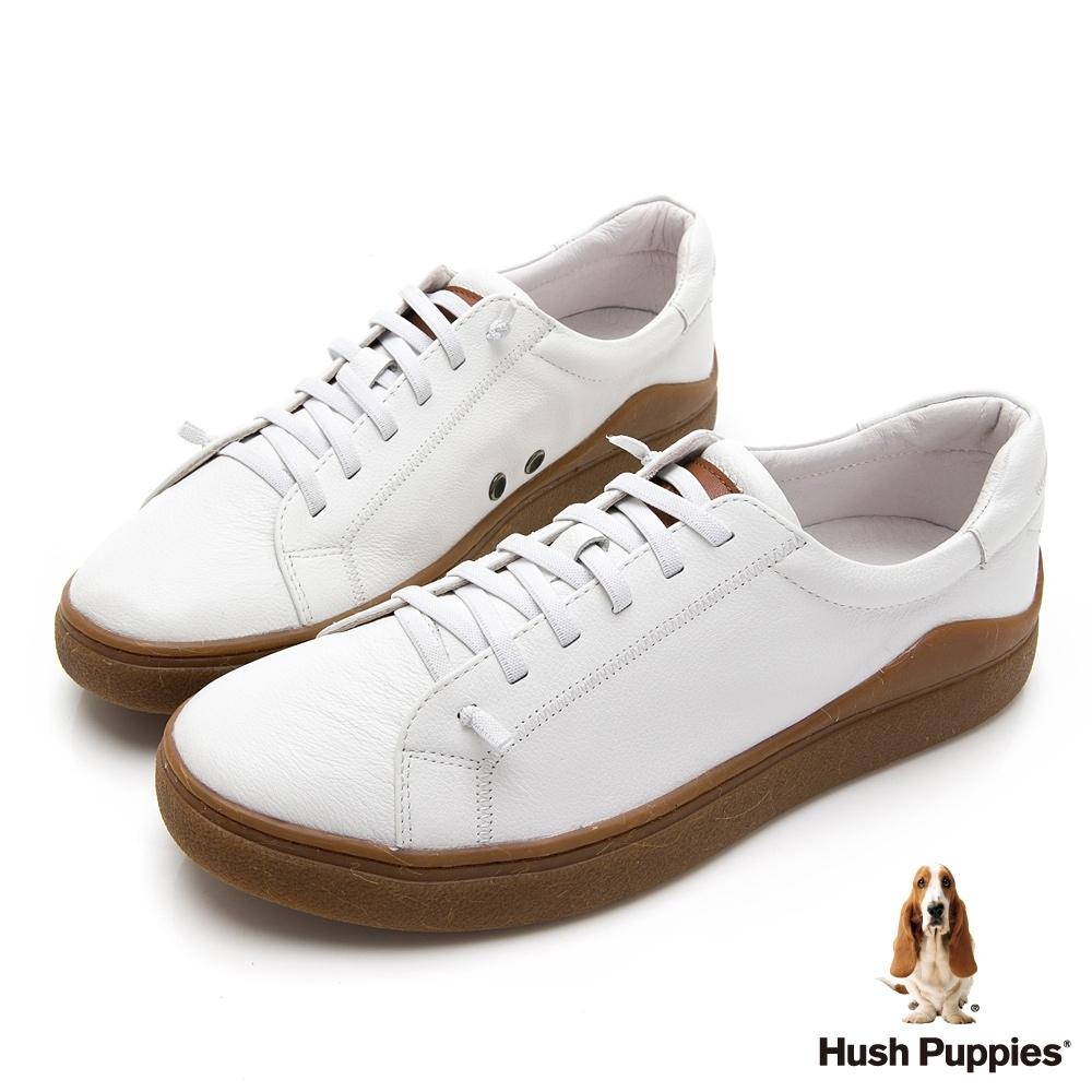 Hush Puppies 真皮厚底男板鞋-棕色