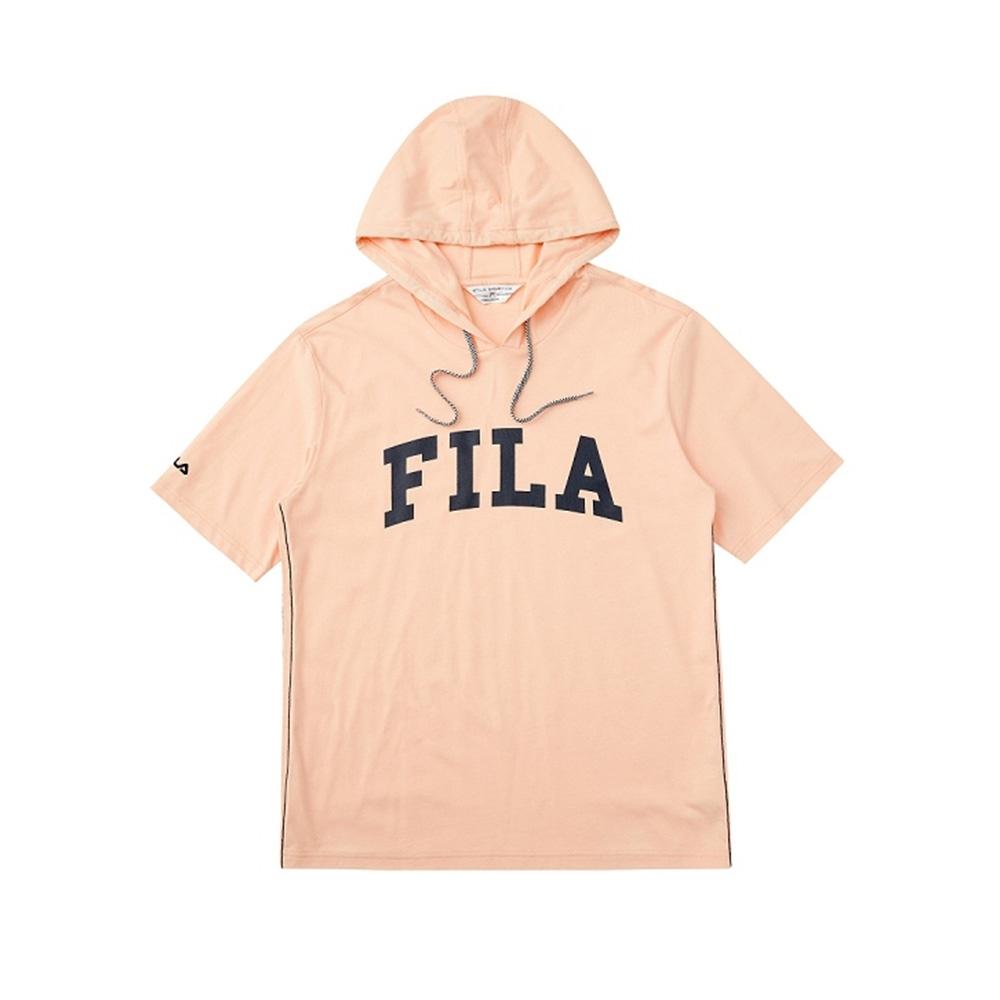 FILA 短袖連帽T恤-粉桔 1TEV-1461-LP