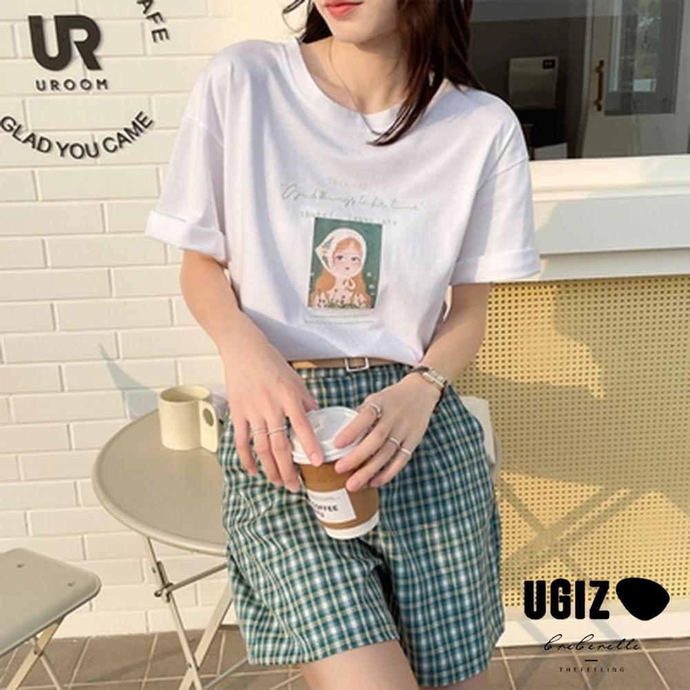 UGIZ-修身氣質圓領小婦人圖案造型上衣-白色(M-XL)