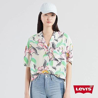 Levis 女款 短袖襯衫 夏日清新風 寬鬆落肩設計