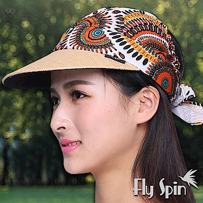 FLYSPIN 時尚民族風花布拉菲草編遮陽空心帽