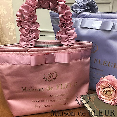 Maison de FLEUR 蝴蝶結緞帶手提荷葉邊手提小包