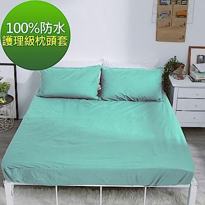 eyah 宜雅 台灣製專業護理級完全防水雙面枕頭套2入組 蒂芬妮綠