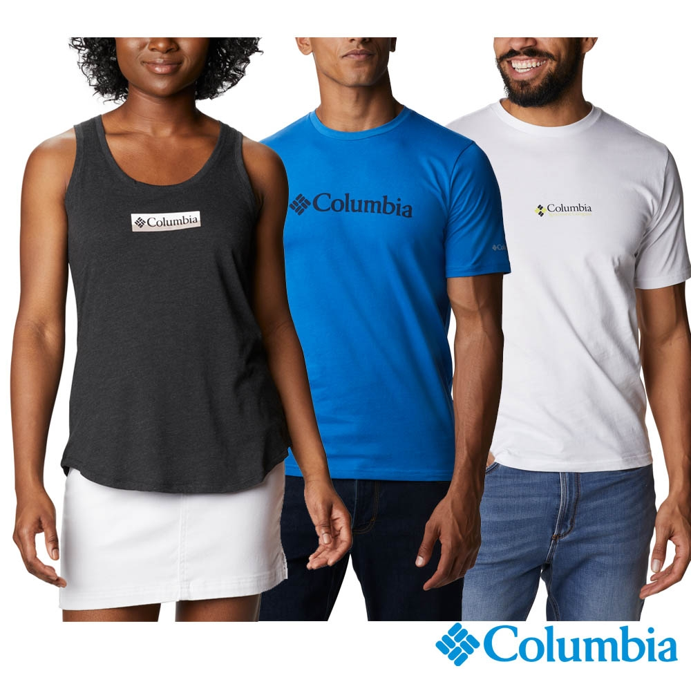 Columbia 哥倫比亞 男女款- LOGO棉短袖上衣-3色  活動款 (男款-藍色)
