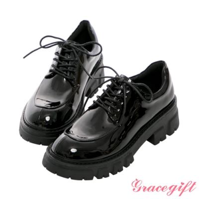 Grace gift-輕量厚底綁帶牛津鞋 黑漆