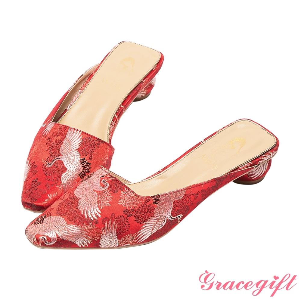 Disney collection by grace gift-花木蘭微方頭穆勒圓跟跟鞋 正紅