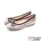 TTSNAP娃娃鞋-MIT真皮經典蛇紋蝴蝶結柔軟平底鞋 米