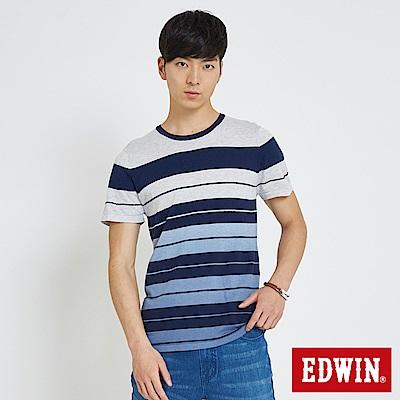 EDWIN 夏日漸層條紋線衫-男-白色