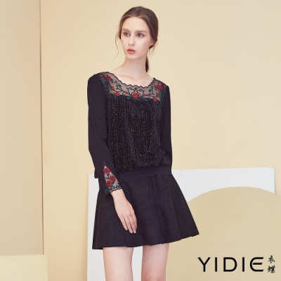 【YIDIE衣蝶】花朵刺繡網紗亮片上衣