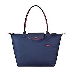 LONGCHAMP COLLECTION系列刺繡LOGO尼龍摺疊款長把手提包(大/深藍x紅