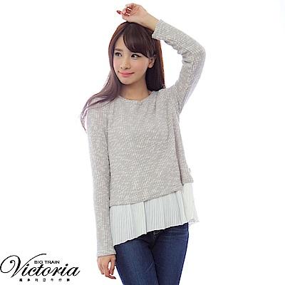 Victoria 假二件式異材質拼接長袖T-女-白