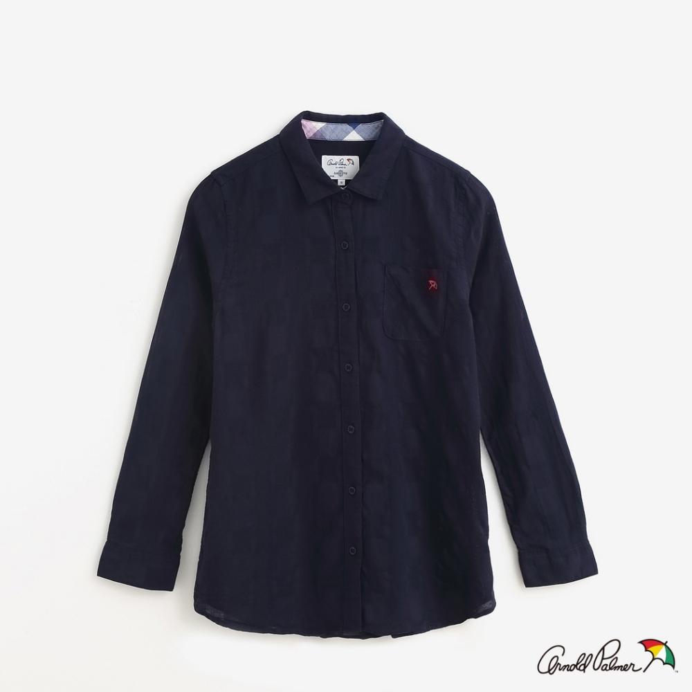 Arnold Palmer-女裝-格紋提織全開襟全長袖襯衫-藍