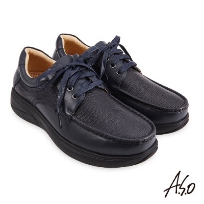 A.S.O  勁步健康異材質綁帶商務休閒鞋-藍