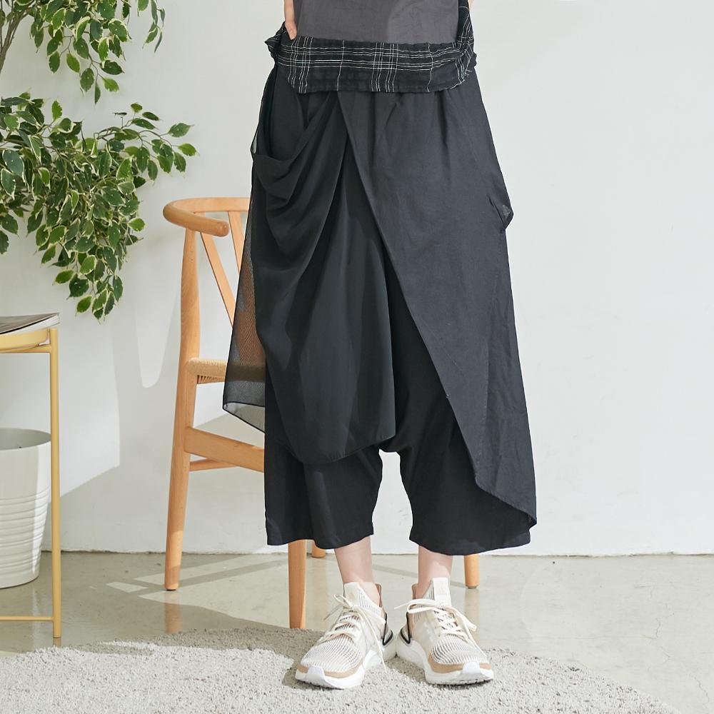 慢 生活 設計師網紗綁帶造型寬口褲- 黑