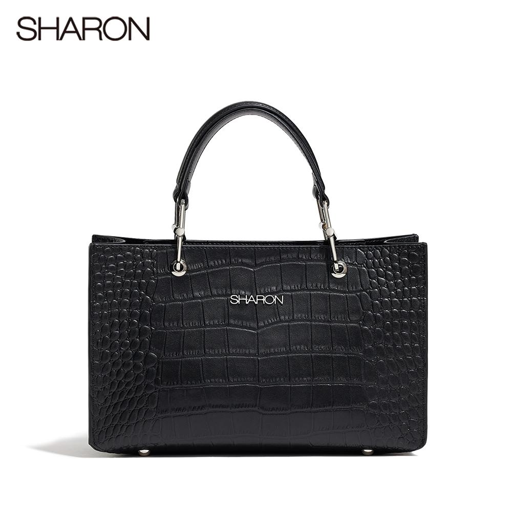 【SHARON 雪恩】頭層牛皮Elizabeth鱷紋方形公事包/斜背包(黑色42057BK)