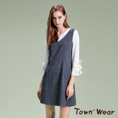 【TOWNWEAR棠葳】格紋羊毛荷葉袖洋裝