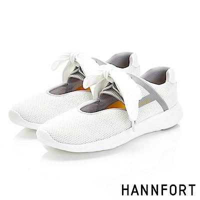 HANNFORT ICE蝴蝶輕舞網布休閒鞋-女-天鵝白