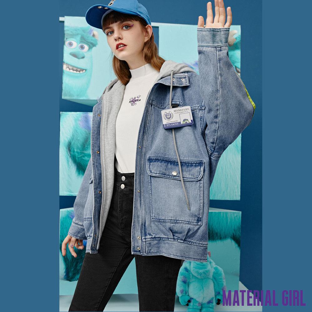 MATERIAL GIRL 怪獸大學學生證假兩件牛仔外套【20冬季款】-A411054