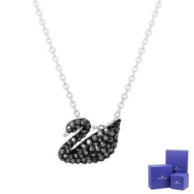 SWAROVSKI 施華洛世奇 Iconic Swan璀璨黑水晶天鵝造型銀色項鍊