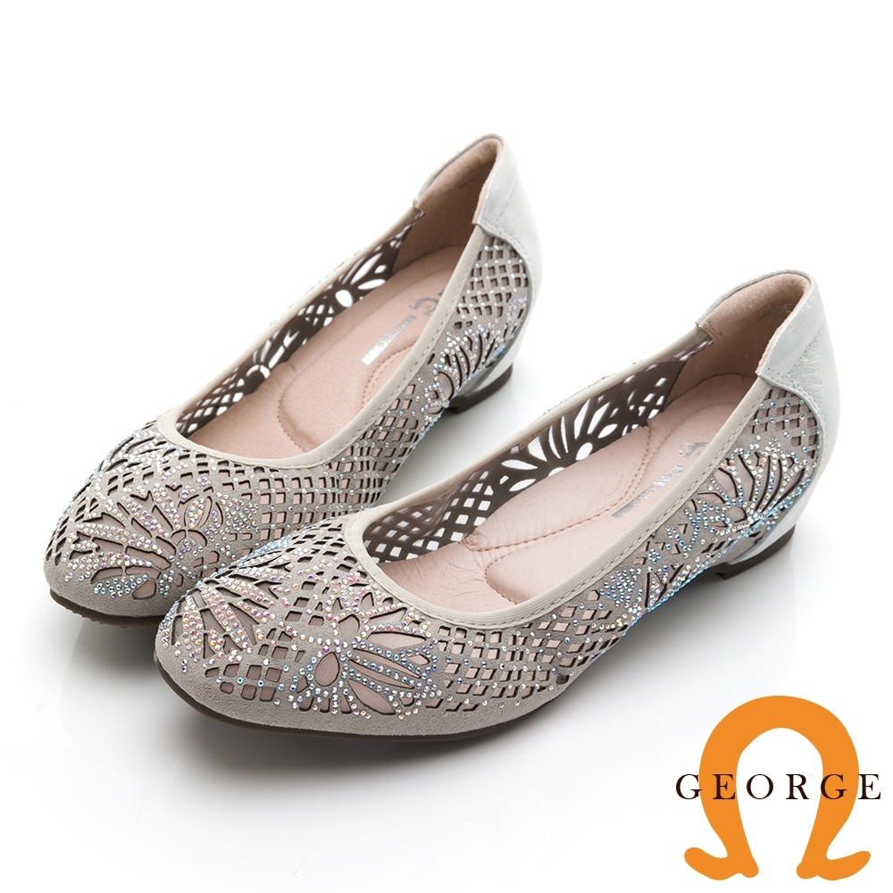 GEORGE 喬治皮鞋 彩鑽花朵舒適小方頭平底鞋 -銀灰色