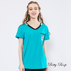 Betty Boop貝蒂 配色細帶雙V領柔棉上衣(共兩色)