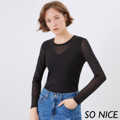 SO NICE微性感透膚V字六角網上衣