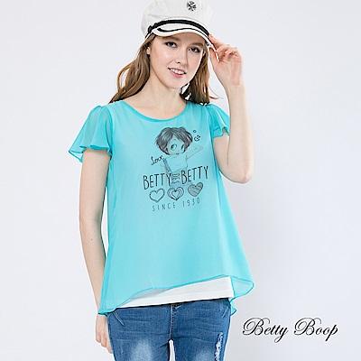 Betty Boop貝蒂 圓領荷葉袖雪紡柔棉上衣(共兩色)