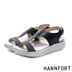 HANNFORT Ultra Comf 4D T字羊皮星沙厚底拖鞋-女-黑