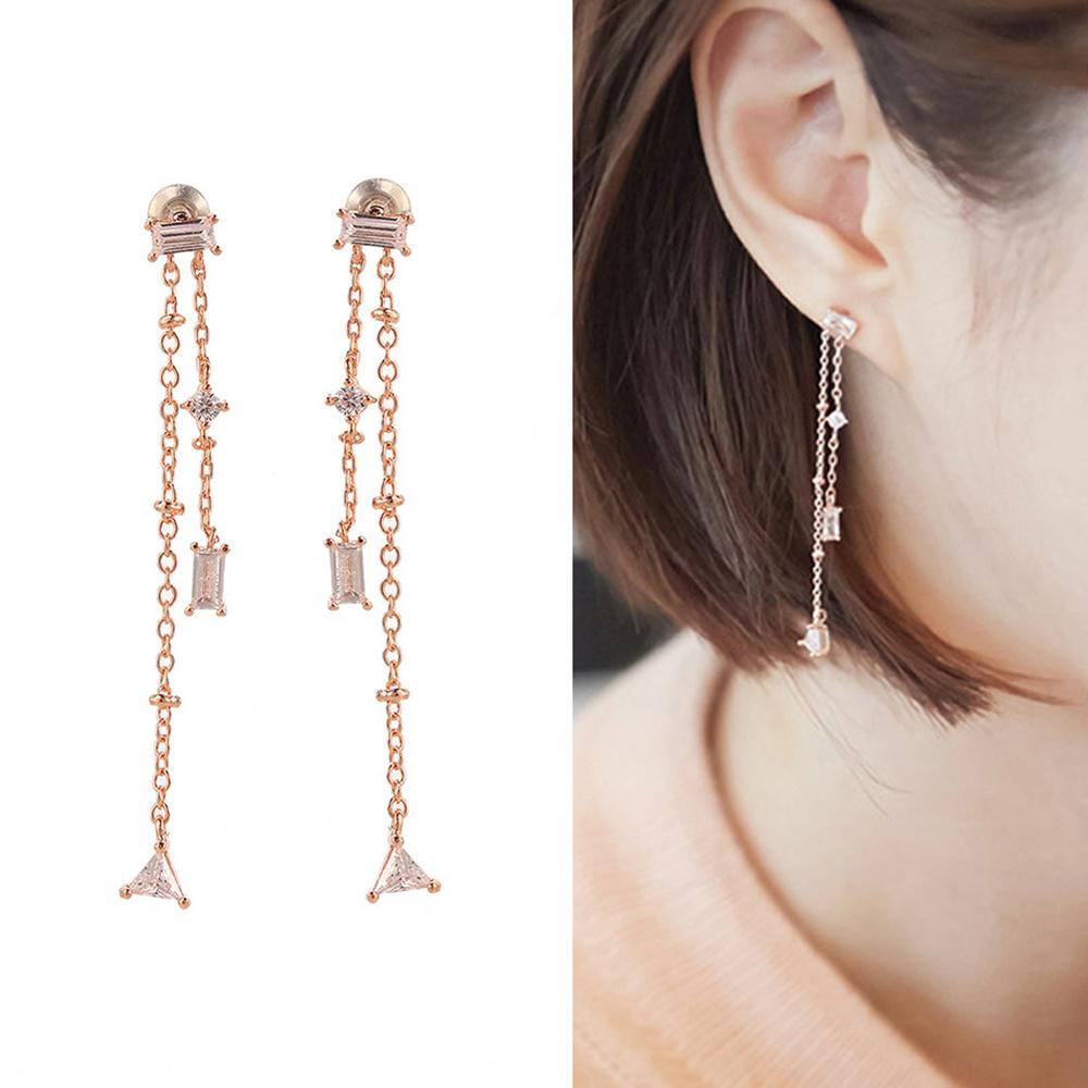 梨花HaNA 無耳洞/耳針款韓國方鑽水晶氣氛長流蘇耳環