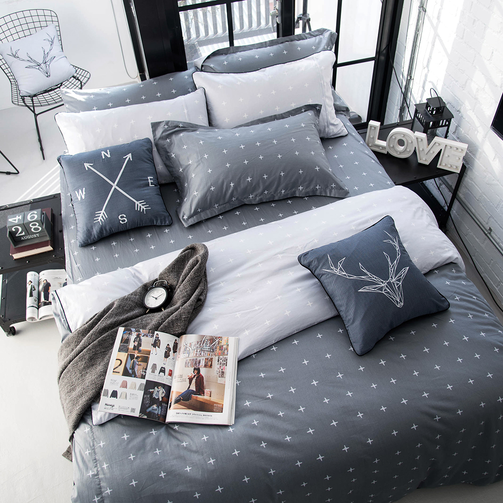 OLIVIA  阿波羅 灰 加大雙人床包被套四件組 200織精梳純棉