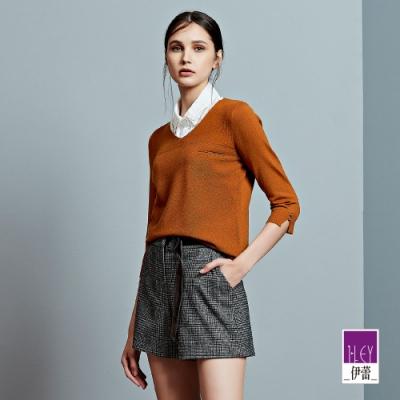 ILEY伊蕾 典雅混羊毛V領七分袖針織上衣(白/咖)