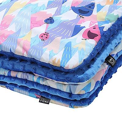 嬰兒毯寶寶毯-La Millou 暖膚豆豆毯-莓果咕咕雞(加勒比海藍)