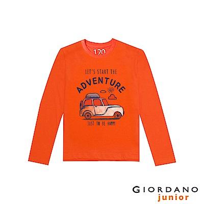 GIORDANO 童裝冒險旅程印花長袖T恤-02 錦鯉橙