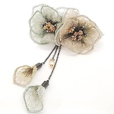梨花HaNA 韓國手工藝術水晶刺繡花卉髮夾
