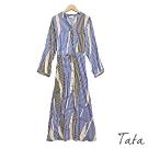 拼接條紋綁帶洋裝 TATA-F