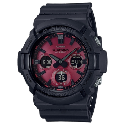 CASIO 卡西歐G-SHOCK太陽能強悍帥氣運動錶-紅黑(GAS-100AR-1A)