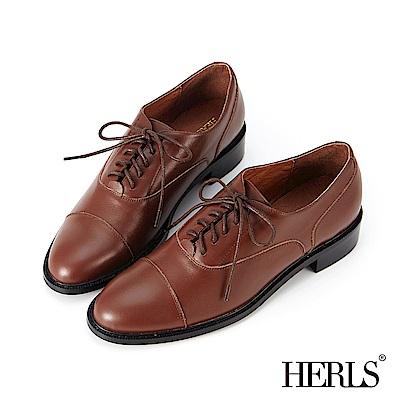 HERLS 簡潔俐落 全真皮基本款素面牛津鞋-棕色