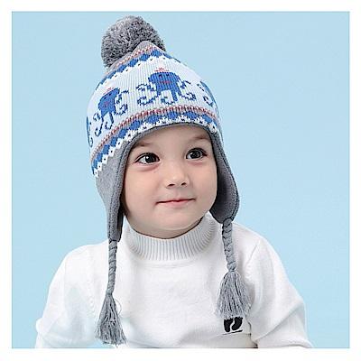 (kidwowo)歐美藍徽章魚秋冬保暖童帽