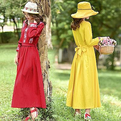 民族風浪漫復古綁帶刺繡洋裝M-2XL-維拉森林