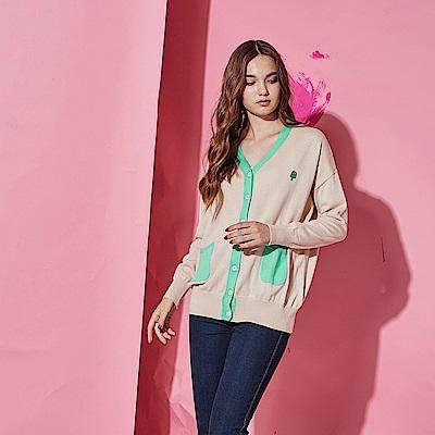 Hana+花木馬 輕時尚撞色拼接棉製長袖針織必備外套-裸色(共2色)