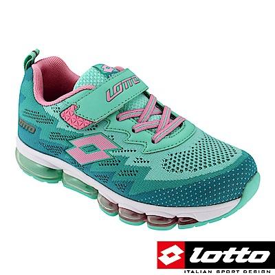 LOTTO 義大利 童 編織氣墊跑鞋(湖水綠)