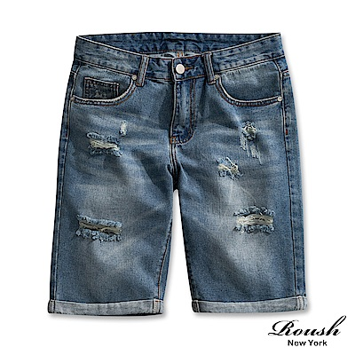 Roush 破壞感水洗刷痕牛仔短褲