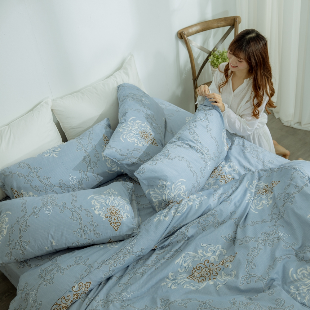 AmissU 頂級60支新疆長絨棉雙人加大床包枕套3件組 曙光