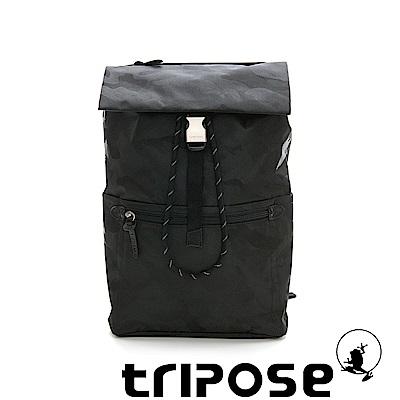 tripose 迷彩系列輕量休閒高機能束口單扣後背包 黑色