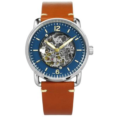 FOSSIL 機械錶鏤空錶盤自動手動上鍊真皮手錶-藍x橘棕色/42mm